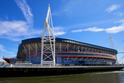 Exterior shot of the Millennium Principality Stadium from across the river