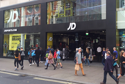 Exterior shot of JD Sports on Oxford Street London