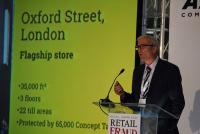 Tim Edwards announcing results at the Retail Fraud Awards